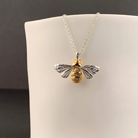 Personalised Solid Silver And Gold Queen Bee Necklace